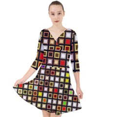 Squares Colorful Texture Modern Art Quarter Sleeve Front Wrap Dress by Sudhe