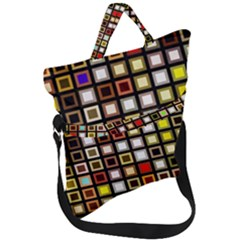 Squares Colorful Texture Modern Art Fold Over Handle Tote Bag