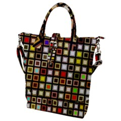 Squares Colorful Texture Modern Art Buckle Top Tote Bag