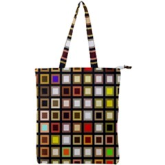Squares Colorful Texture Modern Art Double Zip Up Tote Bag