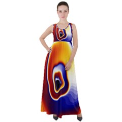 Fractal Art Paint Pattern Texture Empire Waist Velour Maxi Dress by Sudhe