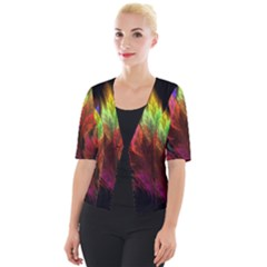 Abstract Digital Art Fractal Cropped Button Cardigan