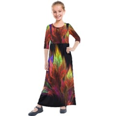 Abstract Digital Art Fractal Kids  Quarter Sleeve Maxi Dress