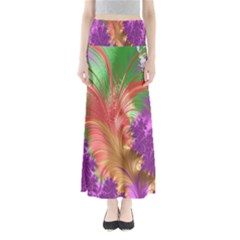 Fractal Purple Green Orange Yellow Full Length Maxi Skirt