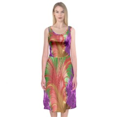Fractal Purple Green Orange Yellow Midi Sleeveless Dress
