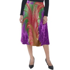Fractal Purple Green Orange Yellow Classic Velour Midi Skirt