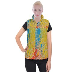 Bubbles Abstract Lights Yellow Women s Button Up Vest
