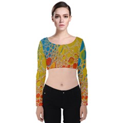 Bubbles Abstract Lights Yellow Velvet Long Sleeve Crop Top
