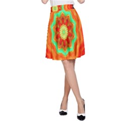 Abstract Kaleidoscope Colored A Line Skirt