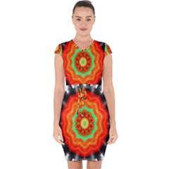 Abstract Kaleidoscope Colored Capsleeve Drawstring Dress