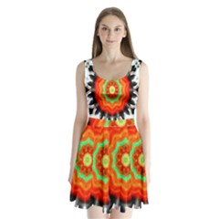 Abstract Kaleidoscope Colored Split Back Mini Dress