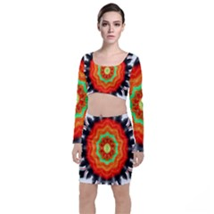 Abstract Kaleidoscope Colored Top And Skirt Sets