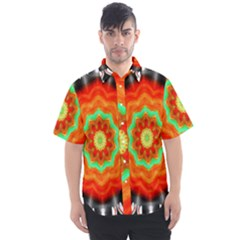 Abstract Kaleidoscope Colored Men s Short Sleeve Shirt