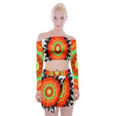 Abstract Kaleidoscope Colored Off Shoulder Top With Mini Skirt Set by Sudhe