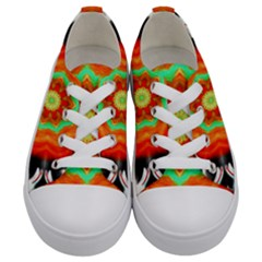 Abstract Kaleidoscope Colored Kids  Low Top Canvas Sneakers