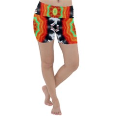 Abstract Kaleidoscope Colored Lightweight Velour Yoga Shorts