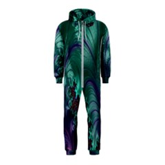 Fractal Turquoise Feather Swirl Hooded Jumpsuit (kids)