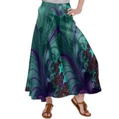 Fractal Turquoise Feather Swirl Satin Palazzo Pants by Sudhe