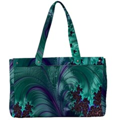 Fractal Turquoise Feather Swirl Canvas Work Bag