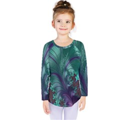Fractal Turquoise Feather Swirl Kids  Long Sleeve Tee