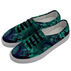 Fractal Turquoise Feather Swirl Men s Classic Low Top Sneakers by Sudhe