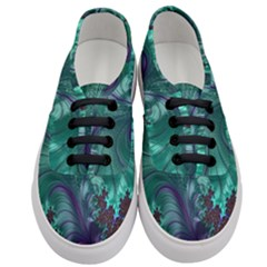 Fractal Turquoise Feather Swirl Women s Classic Low Top Sneakers