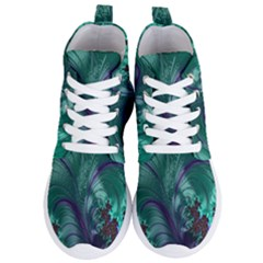 Fractal Turquoise Feather Swirl Women s Lightweight High Top Sneakers