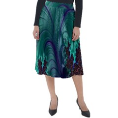 Fractal Turquoise Feather Swirl Classic Velour Midi Skirt