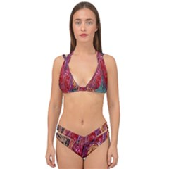 Color Rainbow Abstract Flow Merge Double Strap Halter Bikini Set