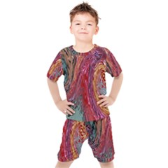 Color Rainbow Abstract Flow Merge Kids  Tee And Shorts Set