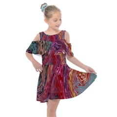 Color Rainbow Abstract Flow Merge Kids  Shoulder Cutout Chiffon Dress