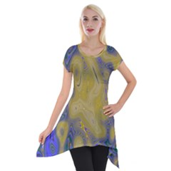 Color Explosion Colorful Background Short Sleeve Side Drop Tunic