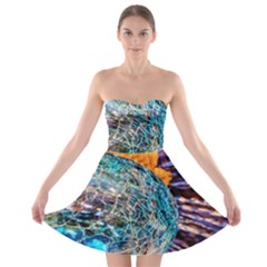 Multi Colored Glass Sphere Glass Strapless Bra Top Dress