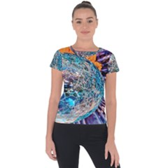 Multi Colored Glass Sphere Glass Short Sleeve Sports Top