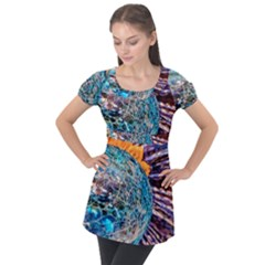 Multi Colored Glass Sphere Glass Puff Sleeve Tunic Top