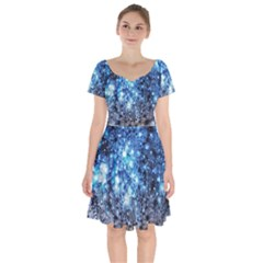 Abstract Fractal Magical Short Sleeve Bardot Dress