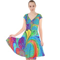 Fractal Art Psychedelic Fantasy Cap Sleeve Front Wrap Midi Dress by Sudhe