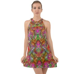 Background Psychedelic Colorful Halter Tie Back Chiffon Dress