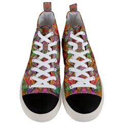 Background Psychedelic Colorful Men s Mid Top Canvas Sneakers
