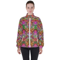 Background Psychedelic Colorful High Neck Windbreaker (women)