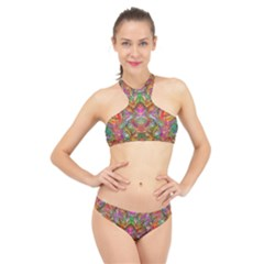 Background Psychedelic Colorful High Neck Bikini Set by Sudhe
