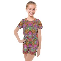 Background Psychedelic Colorful Kids  Mesh Tee And Shorts Set