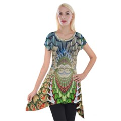 Abstract Fractal Magical Short Sleeve Side Drop Tunic