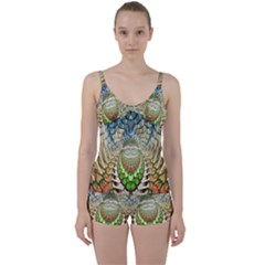 Abstract Fractal Magical Tie Front Two Piece Tankini