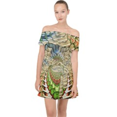 Abstract Fractal Magical Off Shoulder Chiffon Dress