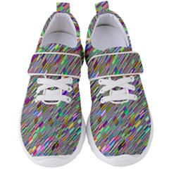 Waves Background Wallpaper Stripes Women s Velcro Strap Shoes