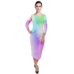 Psychedelic Background Wallpaper Quarter Sleeve Midi Velour Bodycon Dress