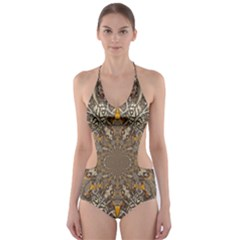 Abstract Digital Geometric Pattern Cut Out One Piece Swimsuit