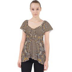 Abstract Digital Geometric Pattern Lace Front Dolly Top