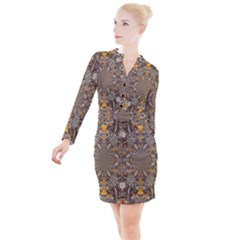 Abstract Digital Geometric Pattern Button Long Sleeve Dress